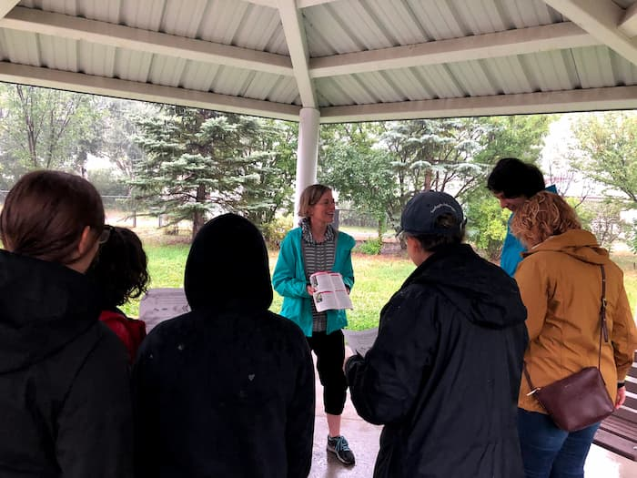 Barbara presenting to a group of volunteers